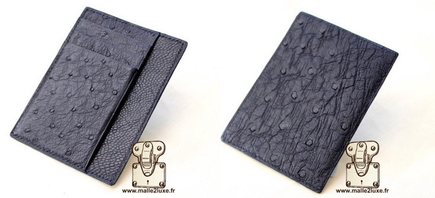 Black ostrich leather card holder