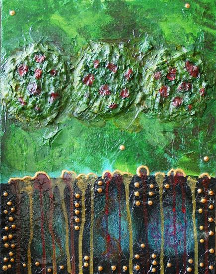 Artigkeit, Claudia Karrasch, Bonn, Malen, Abstrakte Malerei, Kunst, Studio, Rhabarbatörtchen, Acryl, Wachs, Salz, Strukturpaste, Lasurtechnik, Papier, etc., auf 3D-Leinwand, 37 x 25 cm, Juni 2009