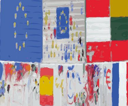 Bunte Flaggen der EU und europäischer Staaten