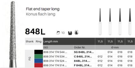 Konus flach lang 848L, Diamant FG