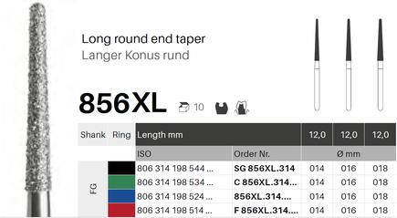 Langer Konus rund 856XL, Diamant FG