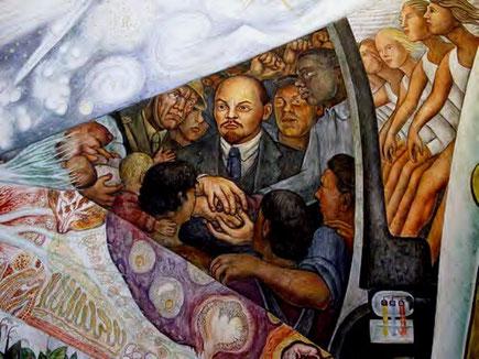 Udsnit af Diego Riveras murmaleri på Rockefeller Center.