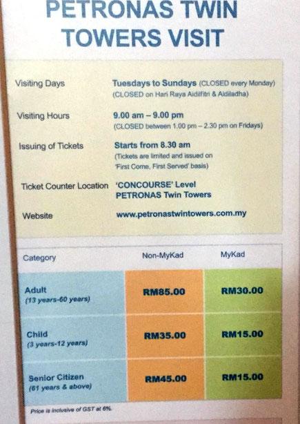 Preisliste im Petronas Twin Towers