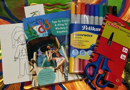 """Sonderaktion: Buch """"Würzburg für Kids & Co"""" im Set mit Pelikan-Stiften oder Bastelschere"""
