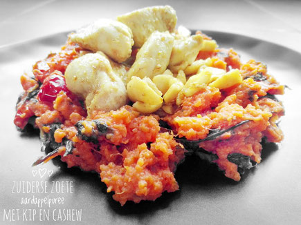 Zoete aardappel stamppot met kip en cashew