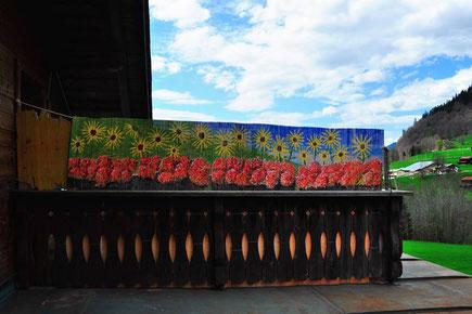 Terrasse,Windschutz,Verzierung,Gemälde,Blumen,Geranien,Sonnenblumen,David Brandenberger,