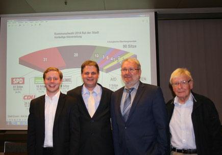 Parteivorsitzender Ralf Witzel MdL (2.v.l.) gratuliert den wiedergewählten Mandatsträgern Andreas Hellmann, Hans-Peter Schöneweiß und Klaus Budde.
