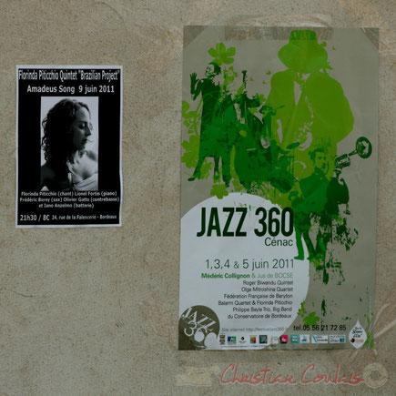 Photographie : Christian Coulais. Affiche Festival JAZZ360 2011 et affiche Florinda Piticchio & Balarm Quartet