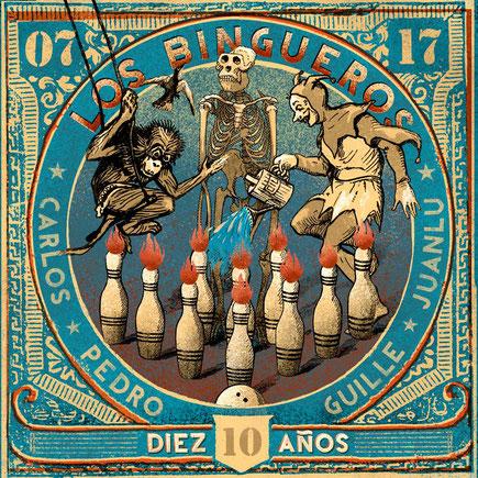 Cubierta del disco de la banda  Los Bingueros. Album con dos canciones de Miki Pannell. Sevilla. España. Rock