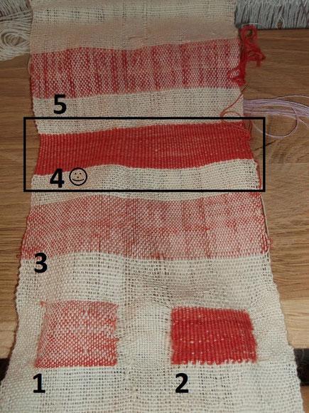Mustertuch zum Thema Clavi mit Varianten von farbigen Streifen zum Vergleich