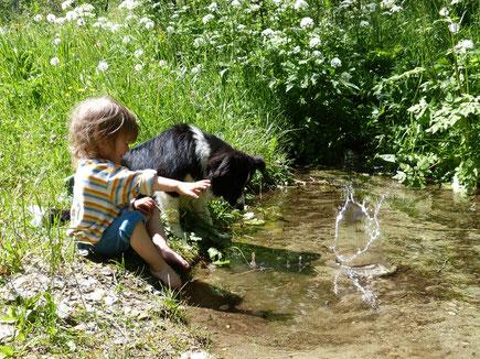 Kind mit Hund an einem Bachlauf am Sturm-Archehof in Heiligenblut