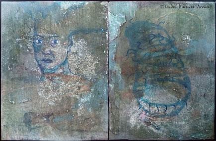 Metamorfósis, óleo, escayola y madera  sobre tabla, 68 x 102 cm.