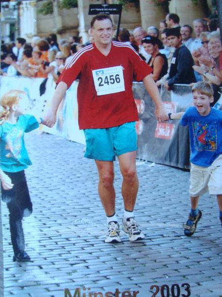 beim Münster-Marathon mit den Zwillingen