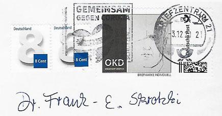 Personifizierte Briefmarke anlässlich des 50. Todestages von OKD