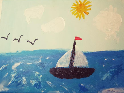Monikas Mutter malte heimlich dieses Segelboot... um ihre Tochter zu überraschen.. und als Erinnerung...
