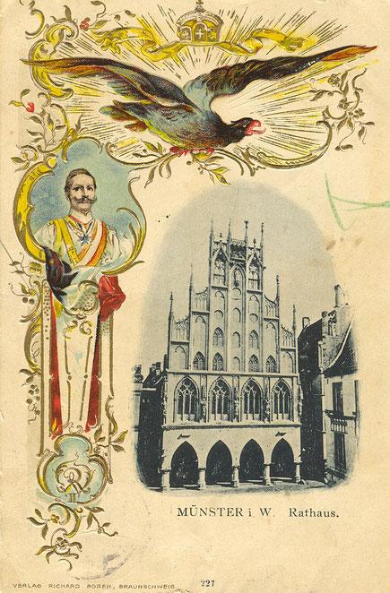 Ansichtskarte anlässlich des Kaiserbesuches in Münster
