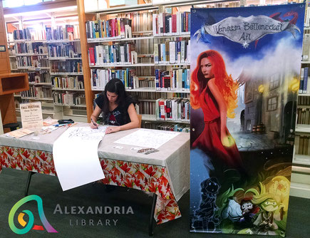alexandria library, beatley central library, friends of the library, drawing, workshop, how to draw, portraits, sketching portraits, portuguese artist, art, vanessa bettencourt art, artist alley set up, books, book fair, best of