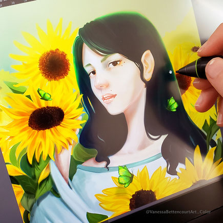 #paintingsunflowers #sunflowers #digitalpainting #painting #greenbutterflies #paintingphotoshop #fantasy #art #digitalarts #portrait #paintingportrait #vanessabettencourtart vanessa bettencourt art