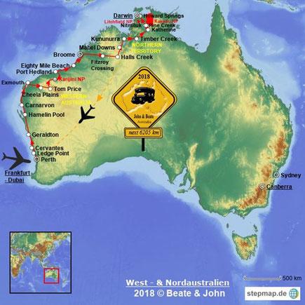 Über 6000 km innerhalb von 6 Wochen durch West-und Nordaustralien mit einem Camper.