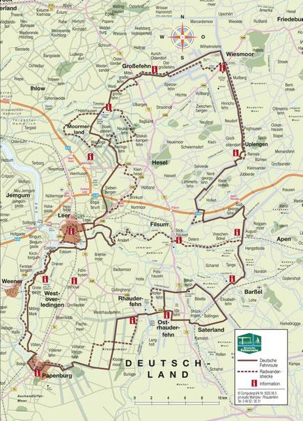 Fehnroute- ca. 170 km (Quelle: www.deutsche-fehnroute.de)