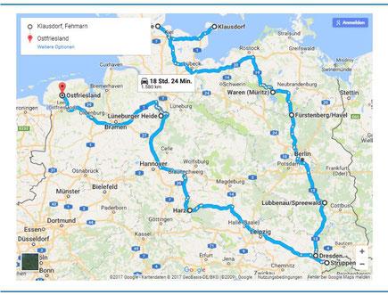 Gesamte geplante Route durch Nord-und Ostdeutschland 2017