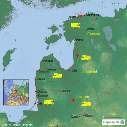 Text & Fotos 2017 © Heide H. - Start in Tallinn (Estland), über Riga (Lettland) , bis Vilnius (Litauen) – weiter über Polen: 1420 km