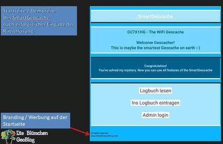 SmartGeocache Start / Demoseite mit Branding