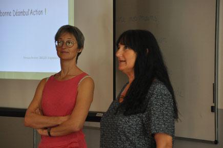 En fin de conférence, Laure Verger (Conseil Départemental) donne le signal de départ de la Déambul'Action