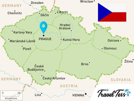 Kaart van Tsjechië