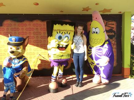 Op de foto met Spongebob en Patrick Ster