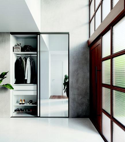 ©Coulidoor - Dressing composable éco et portes coulissantes ambre noir avec miroir argent