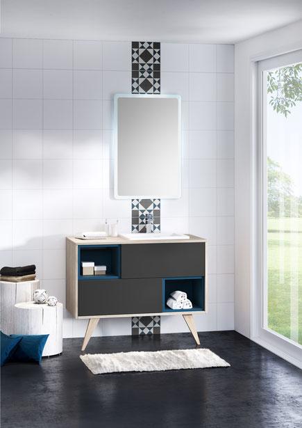 ©Discac, salle de bain 2017, collection MOSAIQUE - Chêne Flotté & Opale Anthracite