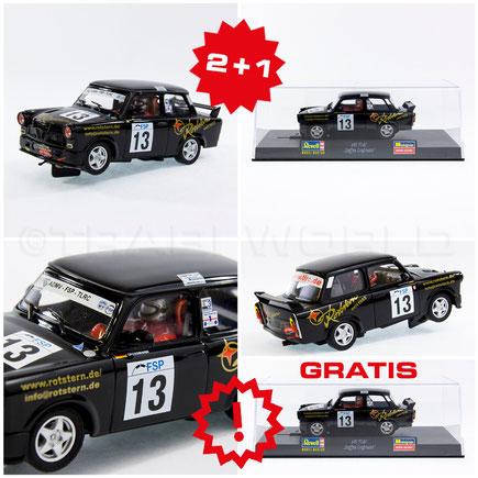 Das Bild zeigt 6 Slotcars, die gerade im Trabi Shop als Set im Angebot sind.
