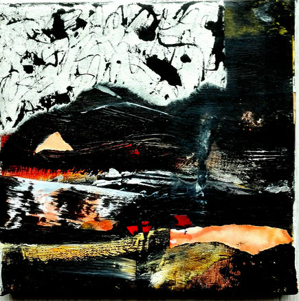 """"""" Landschaft mit Rot """"  Collage/ Acryltusche/ Leinwand"""