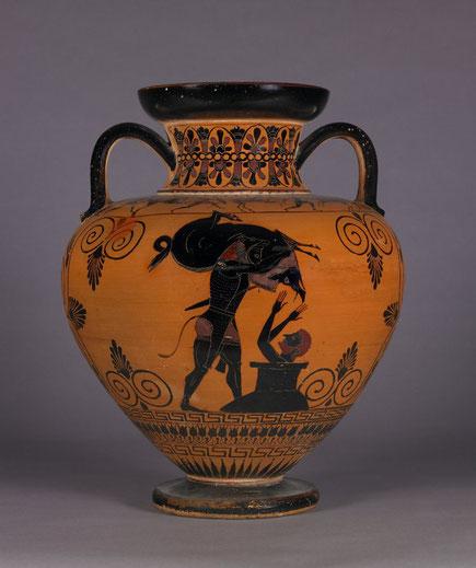 Vase aus Attika, um 540 v. Chr., Herakles bringt Eurystheus den erymanthischen Eber