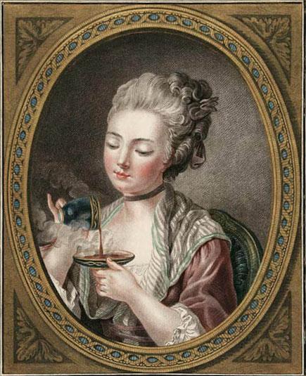 Bild Kaffeetrinkerin, gießt Kaffee in die Untertasse, um ihn abzukühlen