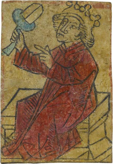 Spielkarte Eichel-König, um 1470-1480