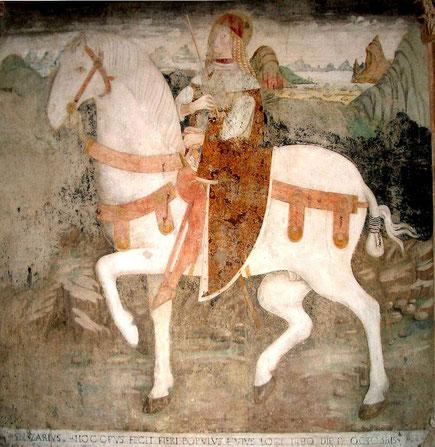 Fresko des heiligen Nazarius in der Abtei Santi Nazario e Celso, Piemont, 15. Jahrhundert