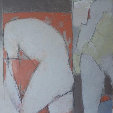 Carte du corps / Huile sur toile 80 x 80