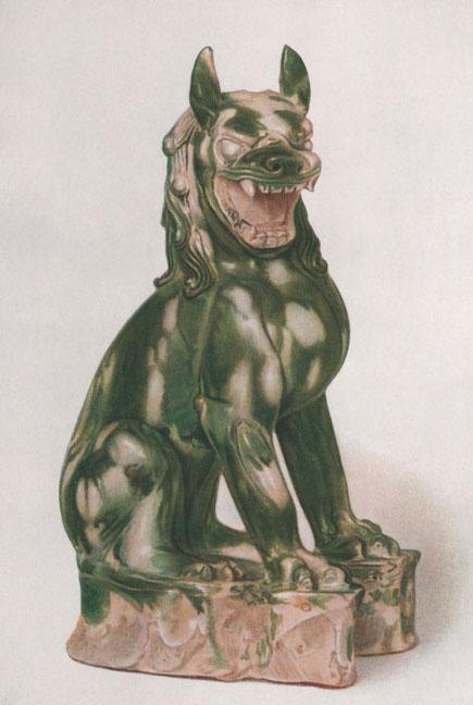 Robert Lockhart HOBSON. Cent planches en couleurs d'art chinois. Statuette. Lion sur un rocher.  Pâte tendre blanche éclaboussée de vert. T'ang.