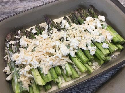 Grüner Spargel mit Parmesancreme