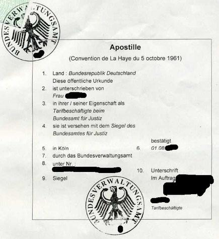 Apostille Bundesverwaltungsamt Köln