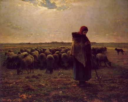 la jeune fille et son troupeau, Jean François Millet, lorsque dentelle et peinture s'unissent pour une oeuvre d'art