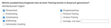 Mehrfachauswahl Fragebogen