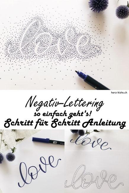 Schritt für Schritt Anleitung: So einfach kannst du ein Negativ-Lettering gestalten und einen tollen Effekt erzielen, indem du nur Punkte und keine Linien ziehst!