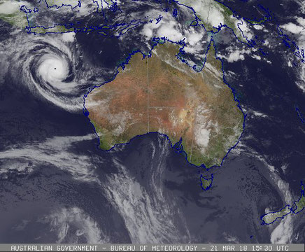 Colourised satellite image of Tropical Cyclone Marcus off north west Australia, 21/03/2018. Image from www.bom.gov.au.