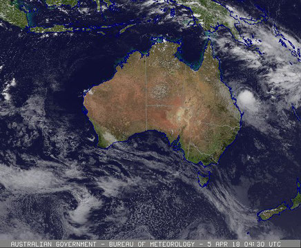 Satellite image of Tropical Cyclone Iris off the Whitsunday coast, 5 April 2018. Image from www.bom.gov.au