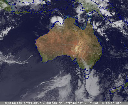 Colourised satellite image of Tropical Cyclone Marcus over north west Australia, 18/03/2018. Image from www.bom.gov.au.