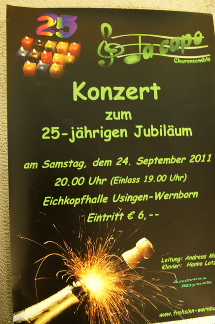 Plakat für das Jubiläumskonzert von Da Capo 2011 in Wernborn