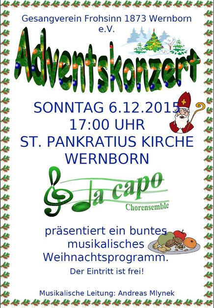 Plakat für das Adventskonzert des Gesangvereins  2015 in Wernborn
